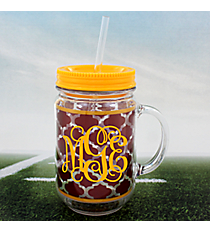 Maroon Moroccan with Yellow Trim Mason Jar Tumbler with Straw #OMU-JAR-MRYW