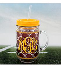 Maroon Moroccan with Yellow Trim Mason Jar Tumbler with Straw #OMU-JAR-MRYW