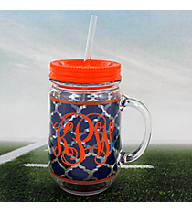 Navy Moroccan with Orange Trim Mason Jar Tumbler with Straw #OMU-JAR-NVOR