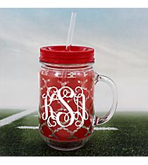 Red Moroccan Mason Jar Tumbler with Straw #OMU-JAR-RD