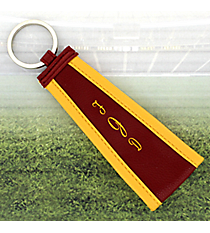 Maroon with Yellow Trim Wristlet Key Fob #LFOB-MRYW