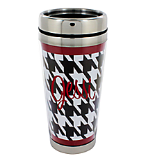 Houndstooth with Crimson Trim Stainless Steel Travel Mug #OMU-MUG-HT