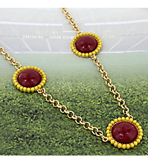 "30"" Maroon and Yellow Beaded Medallion Necklace #OMU-NL-MRYW"