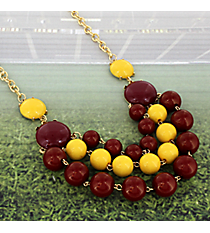 "22"" Layered Maroon and Yellow Beaded Necklace #OMU-N-MRYW"
