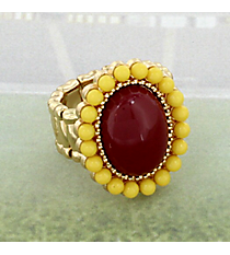 Maroon and Yellow Beaded Stretch Ring #OMU-RS-MRYW
