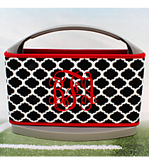 Black and White Moroccan with Red Trim Cover and 6-Pack Cooler Set #OMU-SCVR-BKRD
