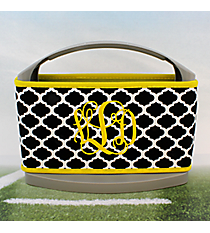 Black and White Moroccan with Yellow Trim Cover and 6-Pack Cooler Set #OMU-SCVR-BKYW