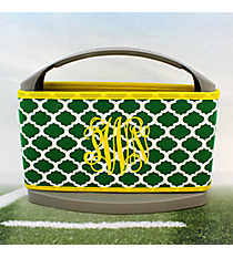 Green and White Moroccan with Yellow Trim Cover and 6-Pack Cooler Set #OMU-SCVR-GRYW