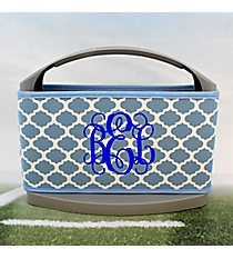 Light Blue and White Moroccan Cover and 6-Pack Cooler Set #OMU-SCVR-LTBL