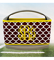 Maroon and White Moroccan with Yellow Trim Cover and 6-Pack Cooler Set #OMU-SCVR-MRYW
