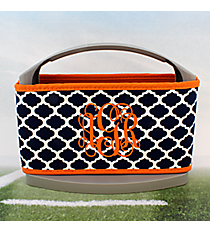 Navy and White Moroccan with Orange Trim Cover and 6-Pack Cooler Set #OMU-SCVR-NVOR