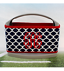 Navy and White Moroccan with Red Trim Cover and 6-Pack Cooler Set #OMU-SCVR-NVRD