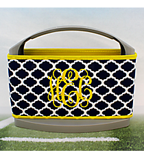 Navy and White Moroccan with Yellow Trim Cover and 6-Pack Cooler Set #OMU-SCVR-NVYW