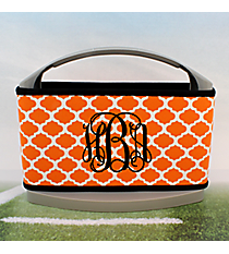 Orange and White Moroccan with Black Trim Cover and 6-Pack Cooler Set #OMU-SCVR-ORBK