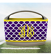Purple and White Moroccan with Yellow Trim Cover and 6-Pack Cooler Set #OMU-SCVR-PRYW