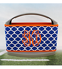 Royal Blue and White Moroccan with Orange Trim Cover and 6-Pack Cooler Set #OMU-SCVR-RYOR