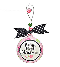 "Pink ""Baby's First Christmas"" Ceramic Ornament #9719474"
