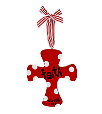 """Faith"" Wooden Cross Ornament #9720161-FAITH"