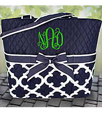Navy Moroccan Geometric Quilted Diaper Bag #OTG2121-NAVY