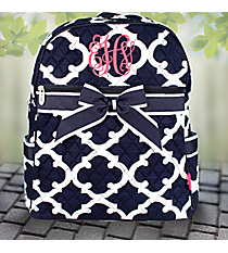 Navy Moroccan Geometric Quilted Large Backpack #OTG2828-NAVY