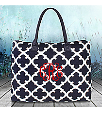 Navy Moroccan Geometric Quilted Large Shoulder Tote #OTG3907-NAVY