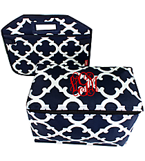 Navy Moroccan Geometric Utility Storage Tote with Insulated Bag #OTG516-NAVY