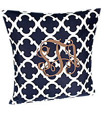 Navy Moroccan Geometric Throw Pillow Slipcover #OTG685-NAVY