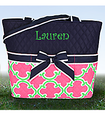 Pink and Green Moroccan Geometric Quilted Diaper Bag with Navy Trim #OTM2121-NAVY
