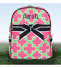 Pink and Green Moroccan Geometric Quilted Large Backpack with Navy Trim #OTM2828-NAVY