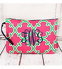 Pink and Green Moroccan Geometric Large Cosmetic Bag with Navy Trim #OTM832-NAVY