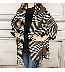 Haute for Houndstooth Hooded Cape, Brown #OZ0017-BRN