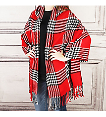 Haute for Houndstooth Hooded Cape, Red #OZ0017-RED