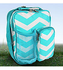 "9"" Light Blue and White Chevron Day Pack #P6009-165-LT/W"