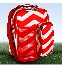 "9"" Red and White Chevron Day Pack #P6009-165-R/W"