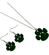 "18"" Emerald Green Crystal Accented Paw Print Necklace and Earring Set #13472EM"