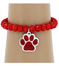 Red Paw Print Charm Stretch Bracelet #HB1538-SRD