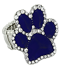 Crystal Blue Paw Print Stretch Ring #AR7020-BLUE