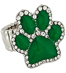 Crystal Green Paw Print Stretch Ring #AR7020-GRN