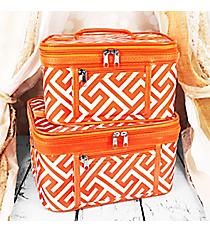 2 Piece Orange and White Greek Key Maze Cosmetic Case Set #PBC02-185-OR/W