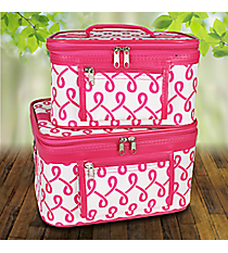 2 Piece Fuchsia and White Lively Loop Cosmetic Case Set #PBC02-186-F/W