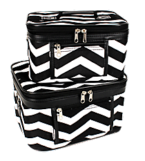 2 Piece Black and White Chevron Cosmetic Case Set #PBC02-165-B/W