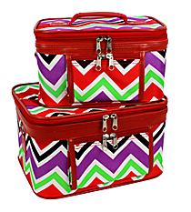 2 Piece Red and Purple Chevron Cosmetic Case Set with Red Trim #PBC02-170