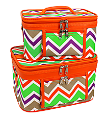 2 Piece Lime Green and Khaki Chevron Cosmetic Case Set with Orange Trim #PBC02-171