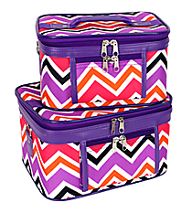 2 Piece Purple and Fuchsia Chevron Cosmetic Case Set with Purple Trim #PBC02-172