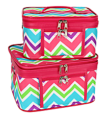 2 Piece Pink and Light Blue Chevron Cosmetic Case Set with Pink Trim #PBC02-173