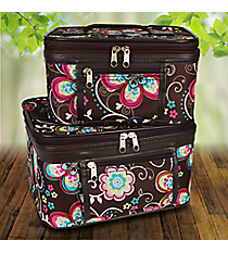 2 Piece Flower Bliss Brown Cosmetic Case Set #PBC02-161