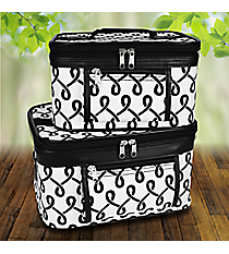 2 Piece Black and White Lively Loop Cosmetic Case Set #PBC02-186-B/W