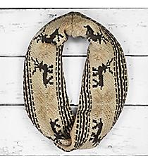 Nordic Deer Infinity Scarf, Beige #PCH-5028-03