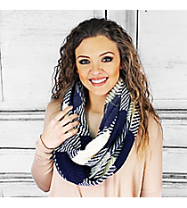 Frolic in the Frost Infinity Scarf, Navy and Ivory #PCY-5084-04