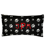 "Black with White Paw Prints 10"" Pouch #909-587-B/W"